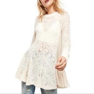 Free People Coffee in The Morning Tunic Ivory XS